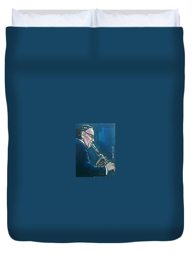 Benny Goodman Duvet Cover featuring the painting Benny Goodman by Bryan Bustard