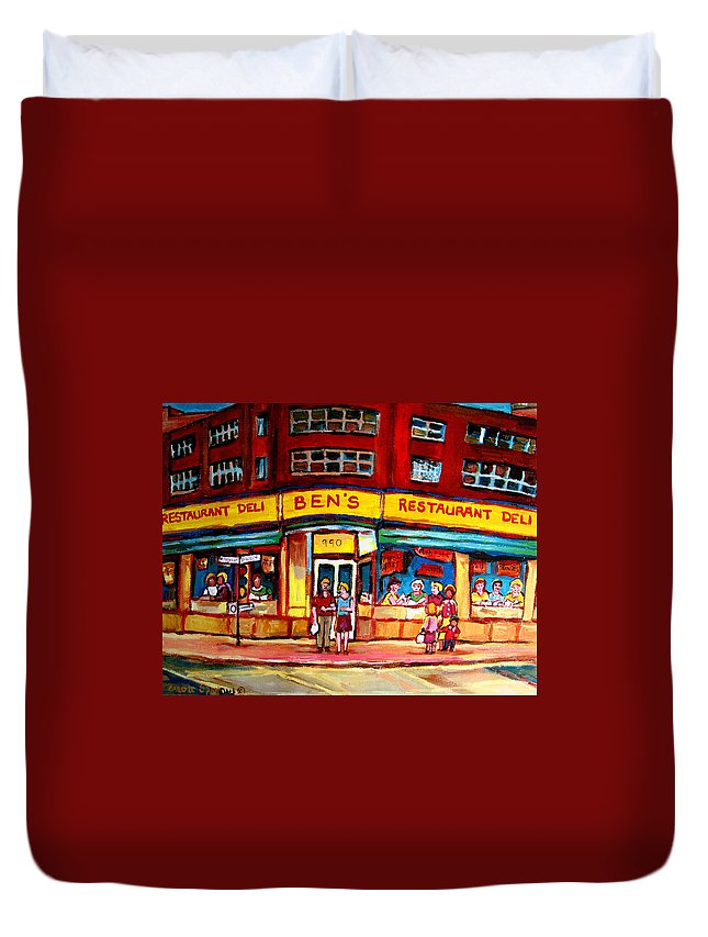 Bens Famous Restaurant Duvet Cover featuring the painting Ben's Delicatessen - Montreal Memories - Montreal Landmarks - Montreal City Scene - Paintings by Carole Spandau