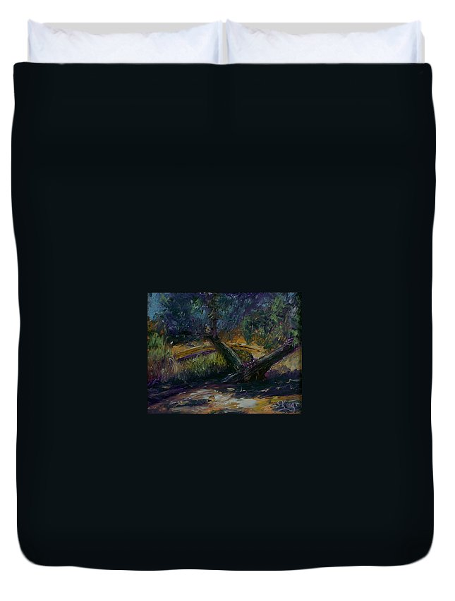 Landscape Duvet Cover featuring the painting Bent Tree by Stephen King