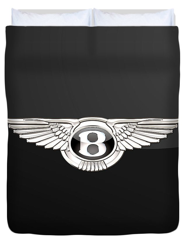 'wheels Of Fortune' By Serge Averbukh Duvet Cover featuring the photograph Bentley - 3 D Badge On Black by Serge Averbukh