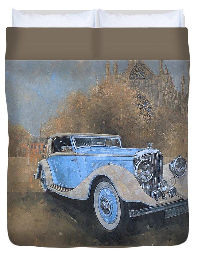 Car; Vehicle; Vintage; Automobile; Blue; Bentley; Kellner; Old Timer Duvet Cover featuring the painting Bentley By Kellner by Peter Miller