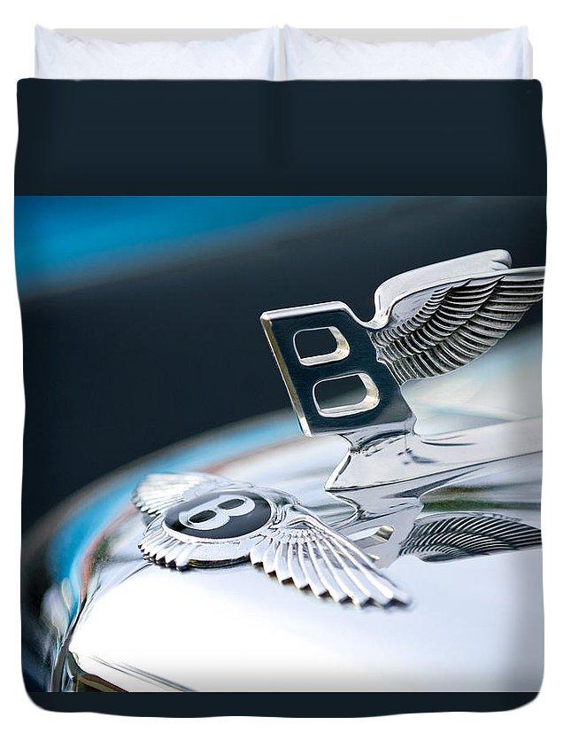 Bentley Duvet Cover featuring the photograph Bentley Hood Ornament by Jill Reger