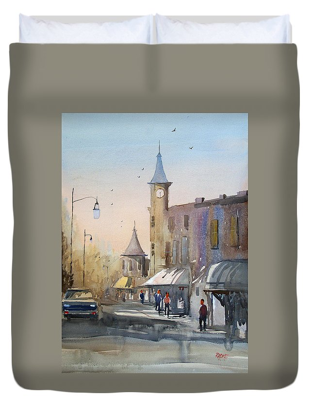 Watercolor Duvet Cover featuring the painting Berlin Clock Tower by Ryan Radke
