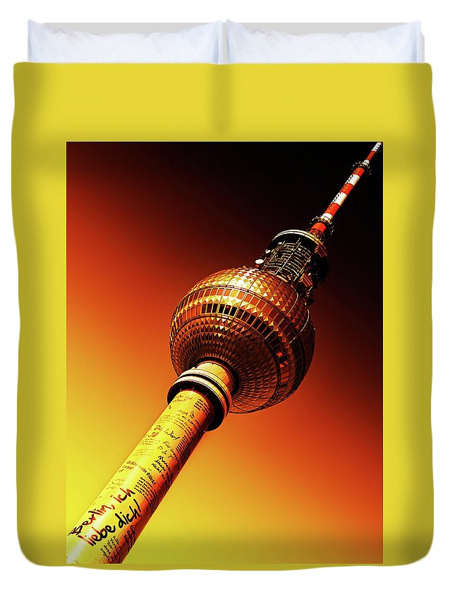 Berlin Duvet Cover featuring the photograph Berlin Television Tower - Berlin I Love You by Alexander Voss