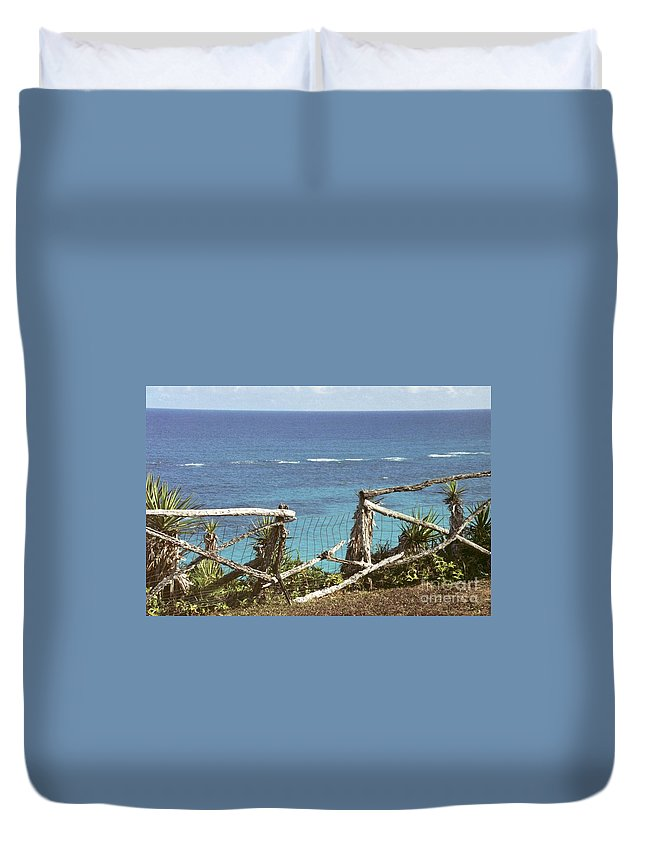 Bermuda Duvet Cover featuring the photograph Bermuda Fence And Ocean Overlook by Heather Kirk