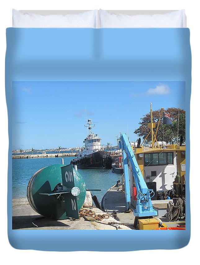 Buoy Duvet Cover featuring the photograph Bermuda Nautical by Ian MacDonald