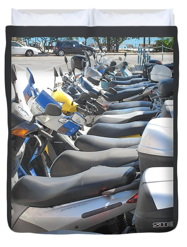 Scooters Duvet Cover featuring the photograph Bermuda Scooters by Ian MacDonald