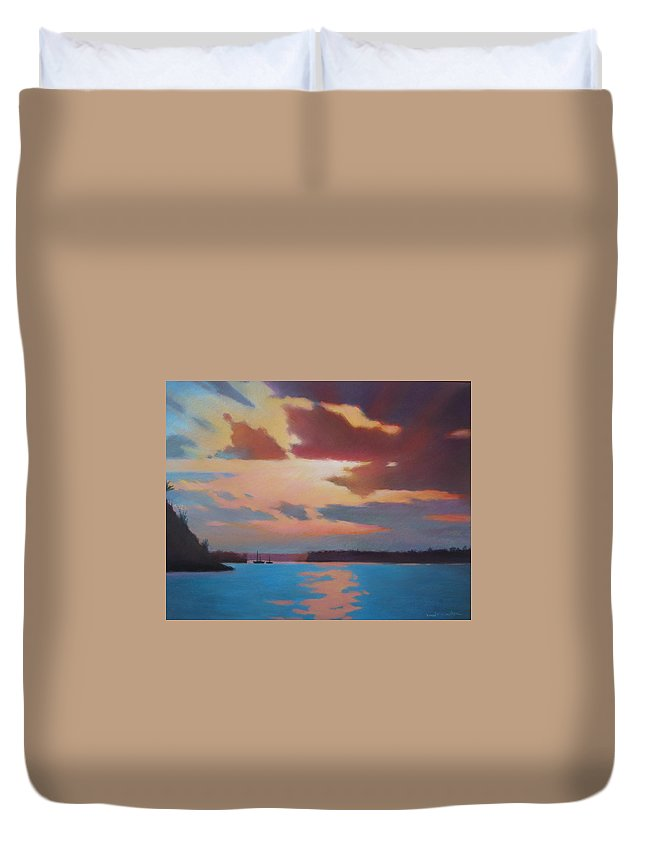 Bermuda Seascape Duvet Cover featuring the painting Bermuda Sunset by Dianne Panarelli Miller