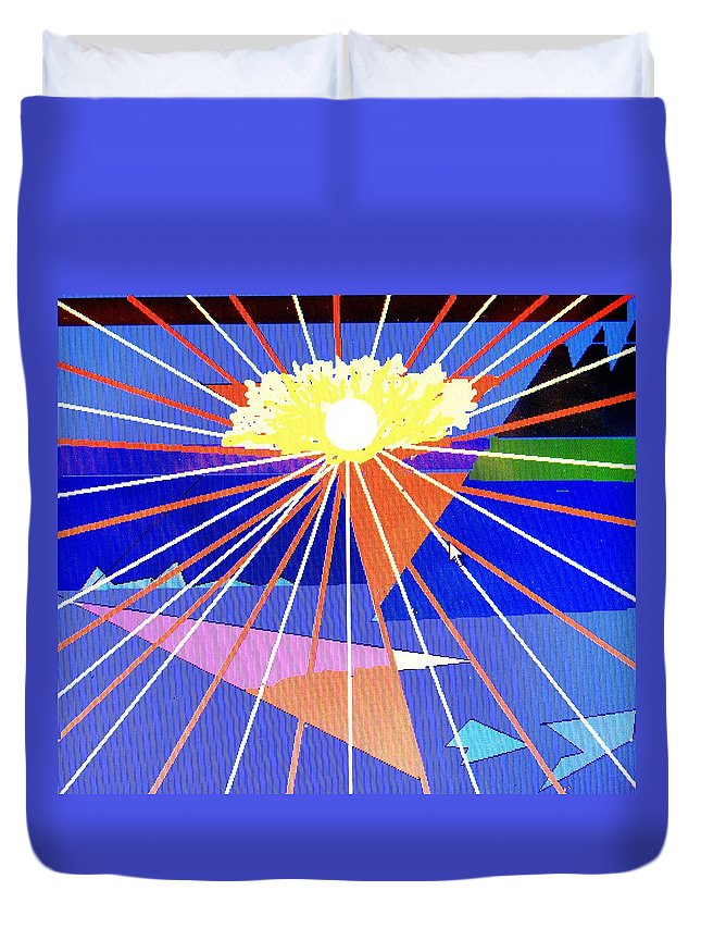 Sunset Duvet Cover featuring the digital art Bermuda Sunset by Ian MacDonald