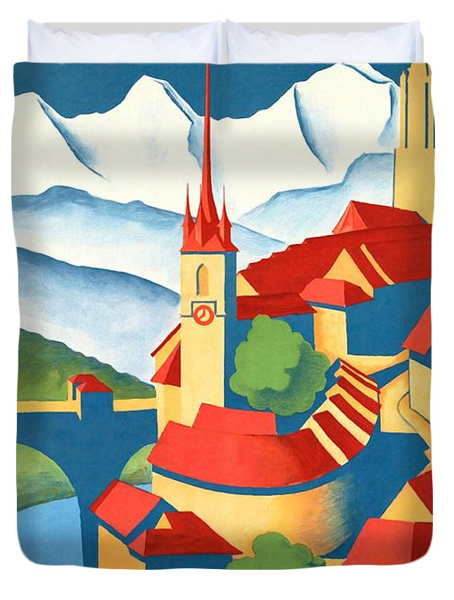 Vintage Poster Duvet Cover featuring the mixed media Berne Switzerland - Restored by Vintage Advertising Posters