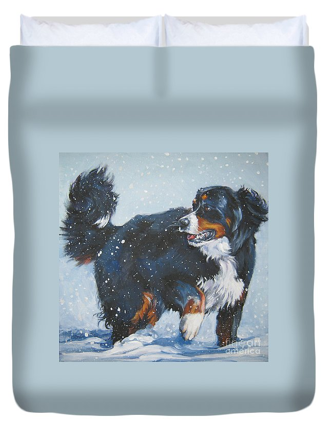 Bernese Mountain Dog Duvet Cover featuring the painting Bernese Mountain Dog In Drift by Lee Ann Shepard