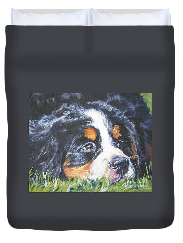 Bernese Mountain Dog Duvet Cover featuring the painting Bernese Mountain Dog In Grass by Lee Ann Shepard