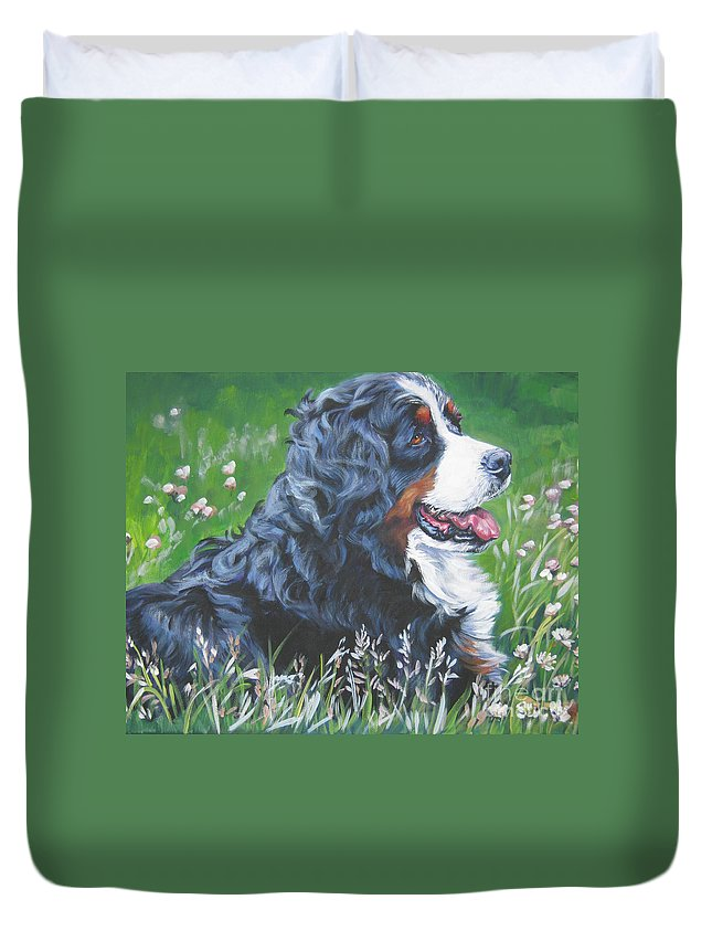 Bernese Mountain Dog Duvet Cover featuring the painting Bernese Mountain Dog In Wildflowers by Lee Ann Shepard