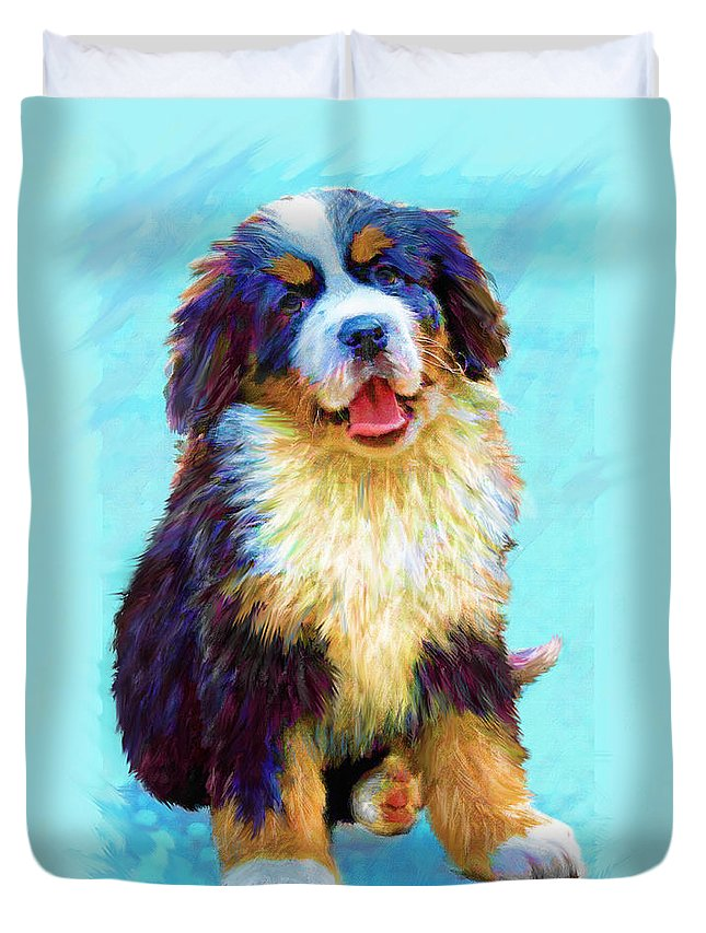 Dog Duvet Cover featuring the digital art Bernese Mountain Dog by Jane Schnetlage