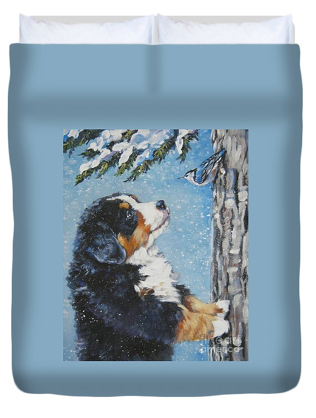 Bernese Mountain Dog Duvet Cover featuring the painting bernese Mountain Dog puppy and nuthatch by Lee Ann Shepard