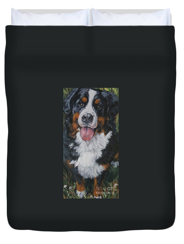Bernese Mountain Dog Duvet Cover featuring the painting Bernese Mountain Dog Standing by Lee Ann Shepard
