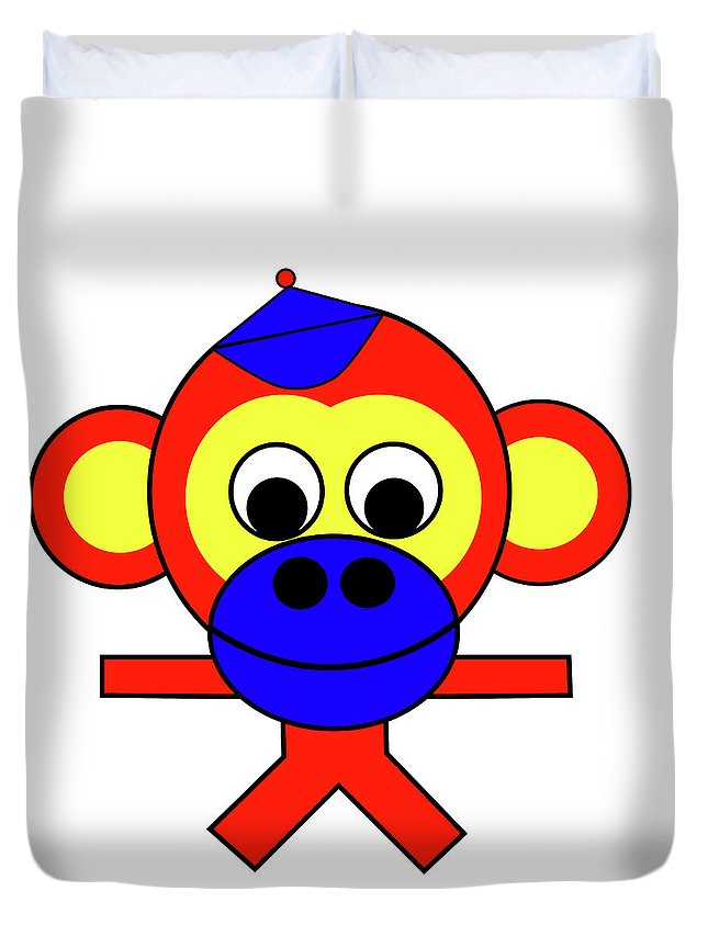Bernhard The Monkey Duvet Cover featuring the digital art Bernhard the Monkey by Asbjorn Lonvig