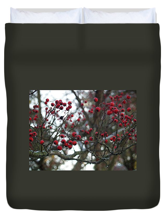 Red Duvet Cover featuring the photograph Berries by Andrea Lynch