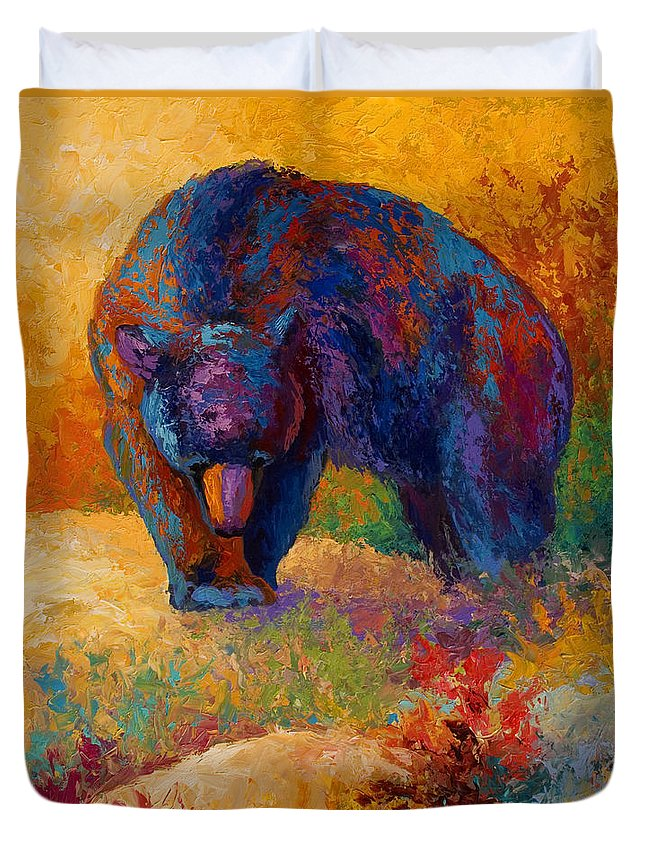 Bear Duvet Cover featuring the painting Berry Hunting by Marion Rose