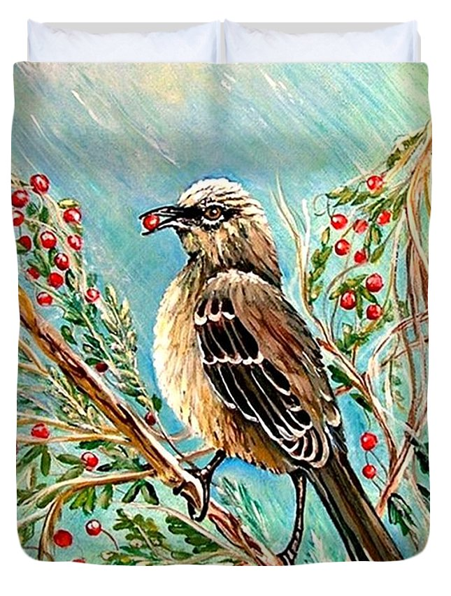 Mocking Bird Duvet Cover featuring the painting Berry Picking Time by Carol Allen Anfinsen