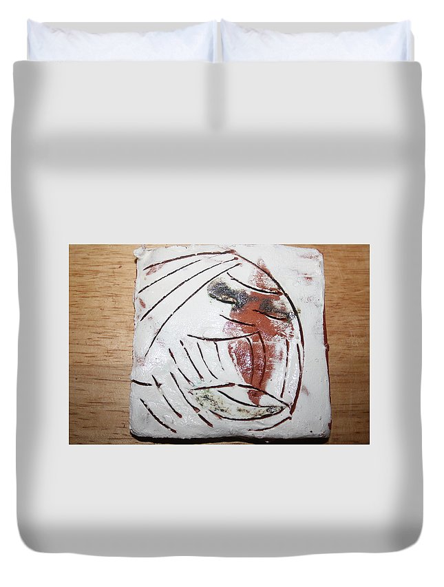 Jesus Duvet Cover featuring the ceramic art Bertha - Tile by Gloria Ssali