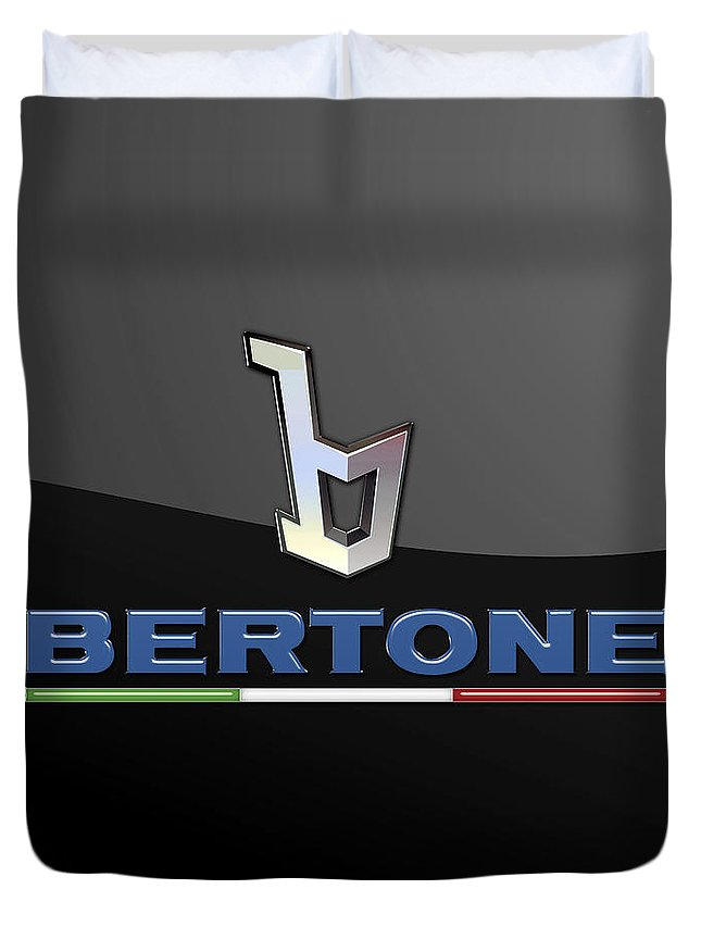 'auto Badges' Collection By Serge Averbukh Duvet Cover featuring the photograph Bertone - 3 D Badge On Black by Serge Averbukh