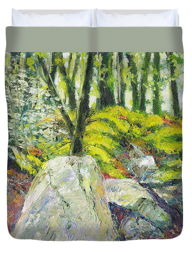 Rocks Duvet Cover featuring the painting Beside The Routeburn by Dai Wynn