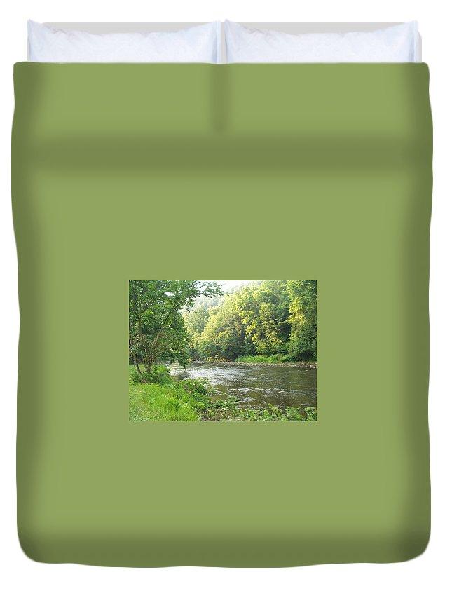 Creek Duvet Cover featuring the photograph Beside The Still Waters by Karen McKinney