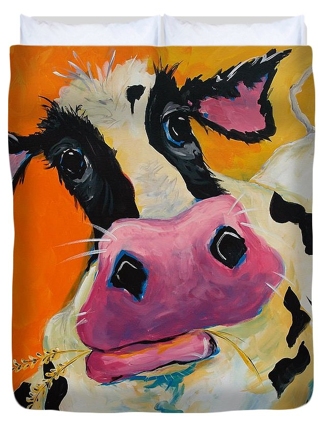 Cow Duvet Cover featuring the painting Bessie by Terri Einer