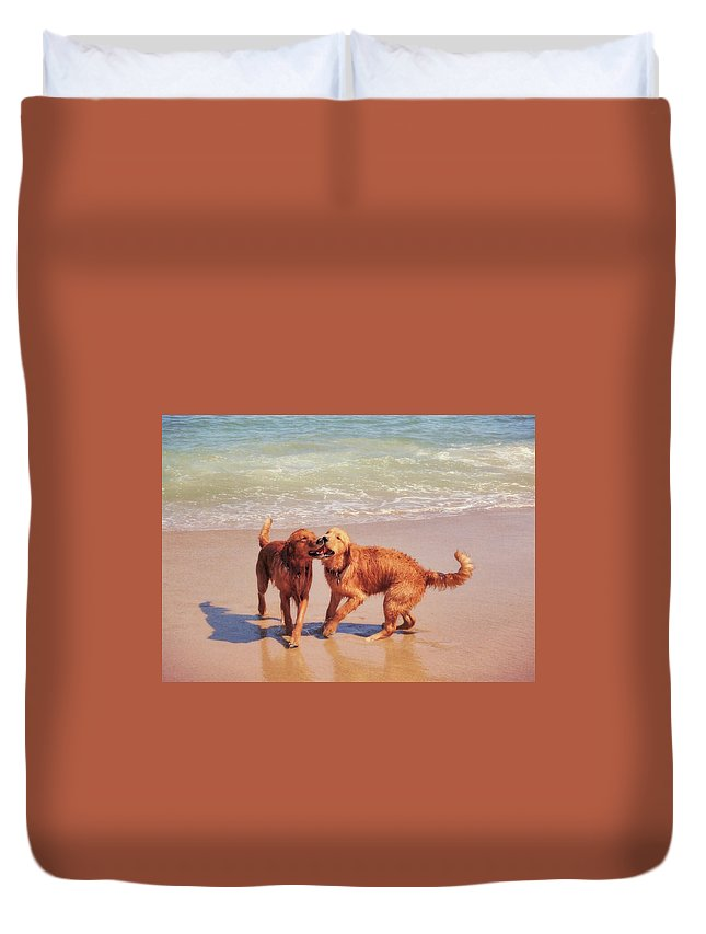 Dog Duvet Cover featuring the photograph Best Buds by JAMART Photography