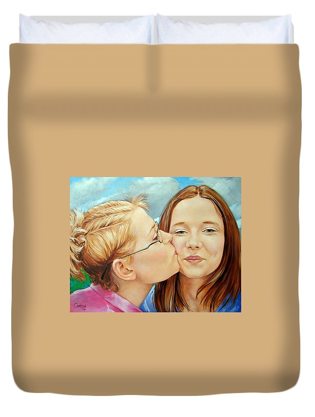 Best Friends Duvet Cover featuring the painting Best Buds by Jerrold Carton
