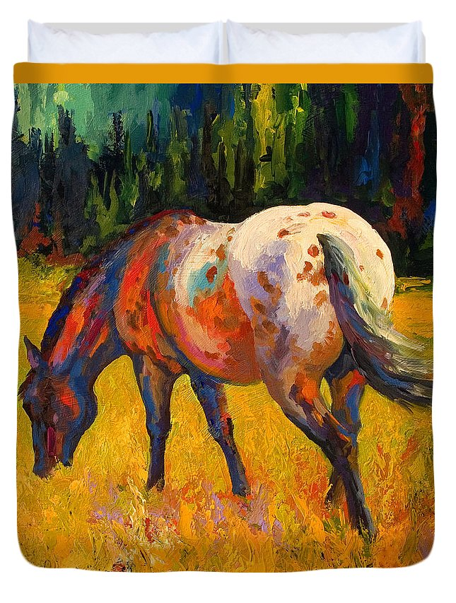 Horses Duvet Cover featuring the painting Best End Of An Appy by Marion Rose