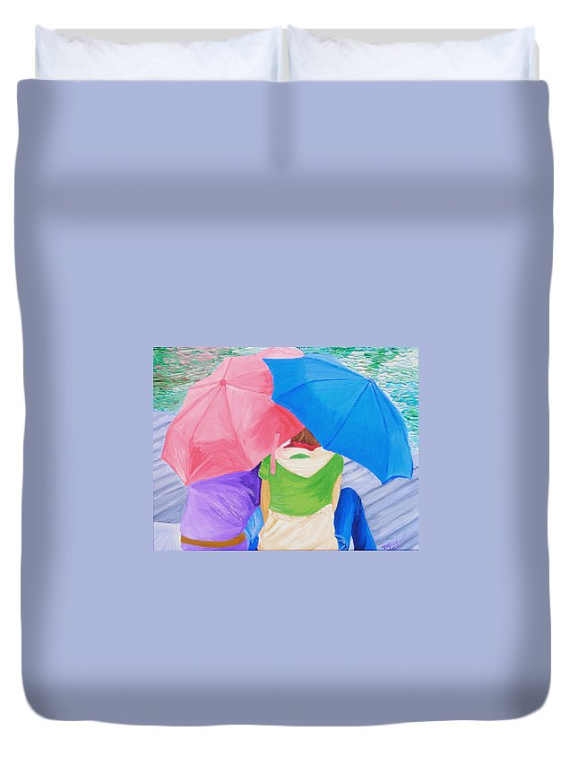 Umbrella Duvet Cover featuring the painting Best Friends Forever by Michael Lee