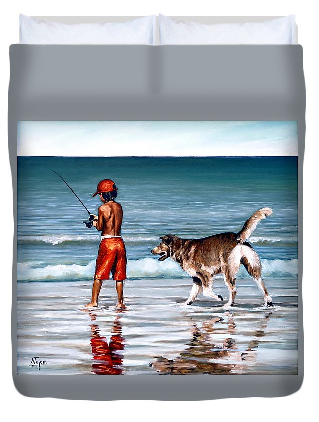 Child Duvet Cover featuring the painting Best Friends II by Natalia Tejera