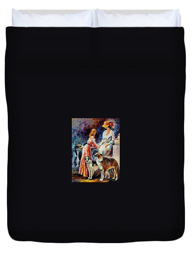 Afremov Duvet Cover featuring the painting Best Friends by Leonid Afremov