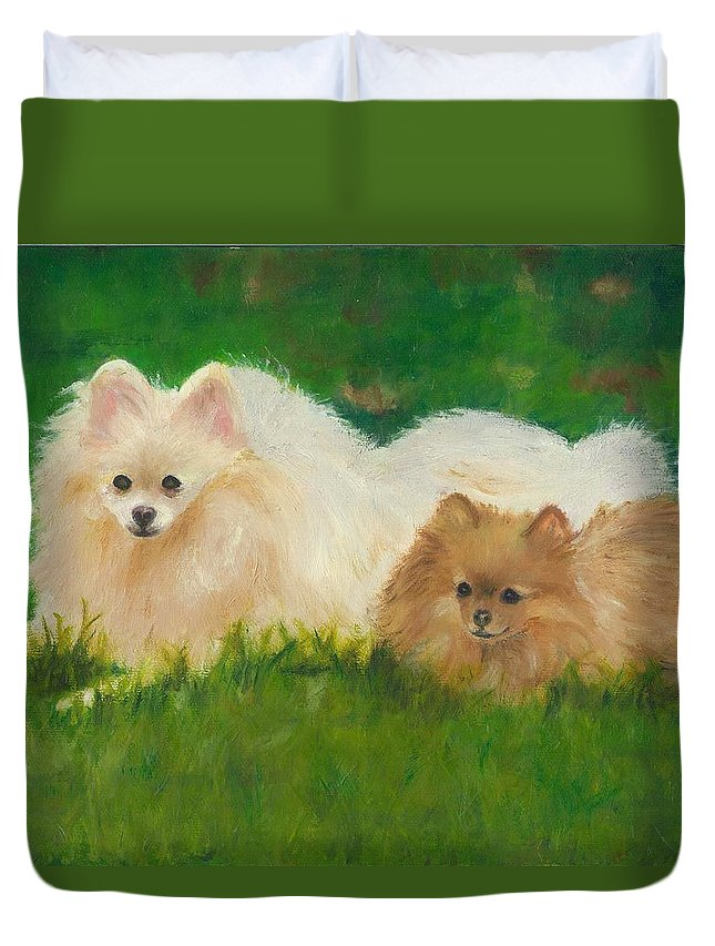 Dogs Duvet Cover featuring the painting Best Friends by Paula Emery