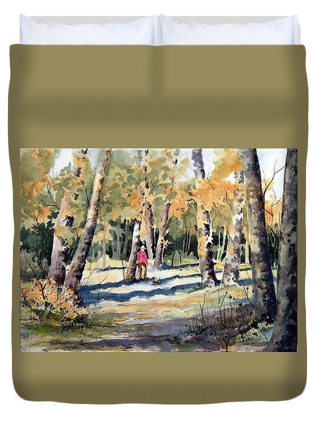 Dog Duvet Cover featuring the painting Walking With A Friend by Sam Sidders