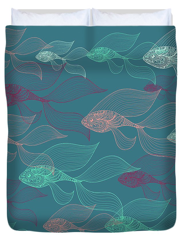 Dolphins Duvet Cover featuring the photograph Beta Fish by Mark Ashkenazi