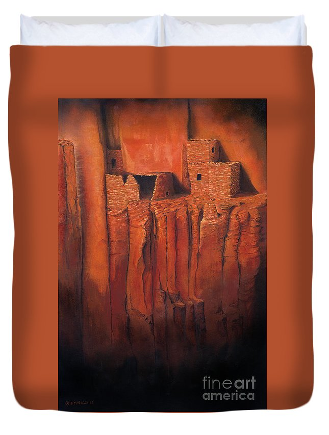 Anasazi Duvet Cover featuring the painting Betatakin Ruins by Jerry McElroy
