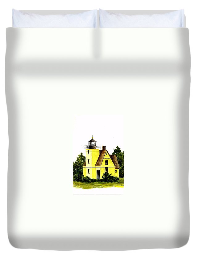 Lighthouse Duvet Cover featuring the painting Bete Gris Lighthouse by Michael Vigliotti