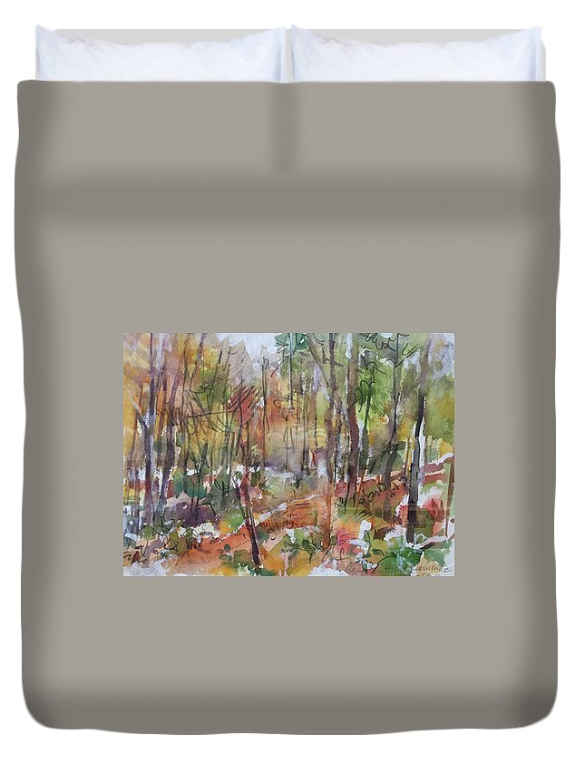 Watercolor Duvet Cover featuring the painting Bethany Woods by Abbie Rabinowitz