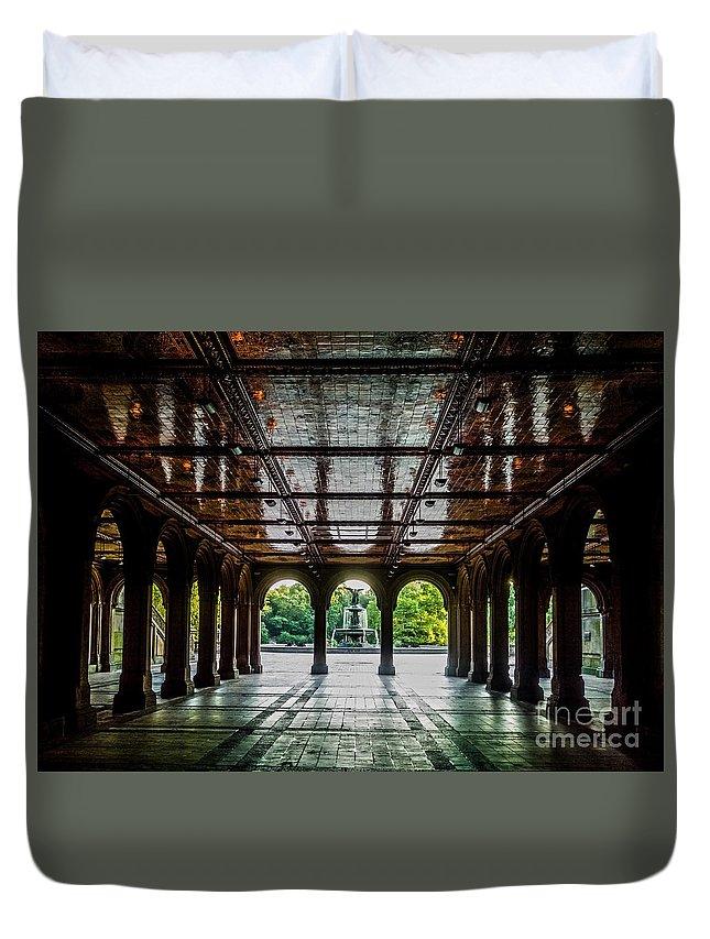 Central Park Duvet Cover featuring the photograph Bethesda Terrace Arcade 2 by James Aiken