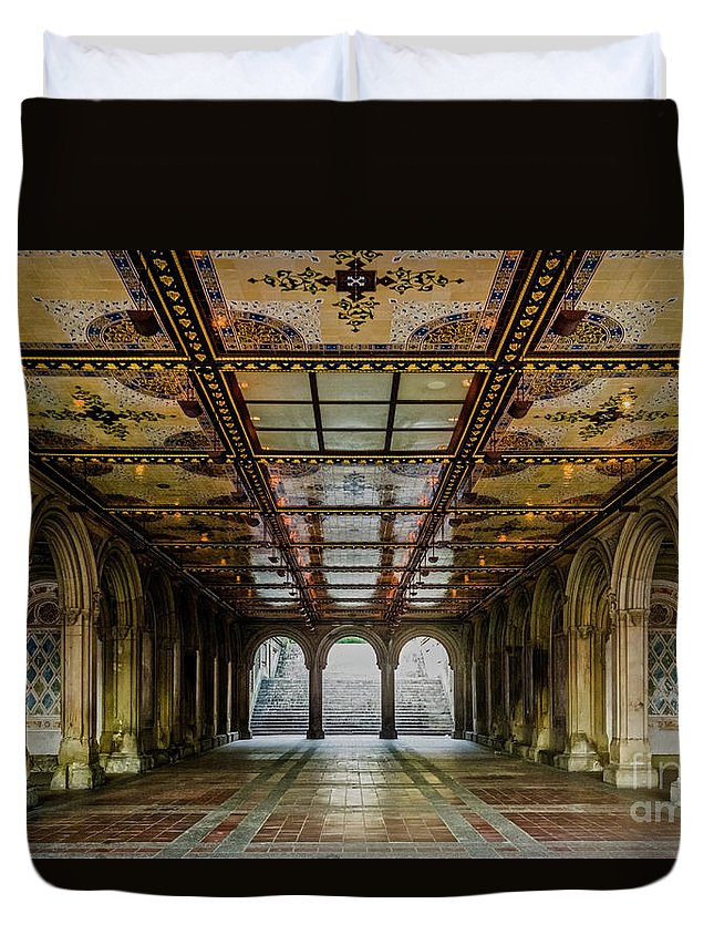 Central Park Duvet Cover featuring the photograph Bethesda Terrace Arcade 3 by James Aiken