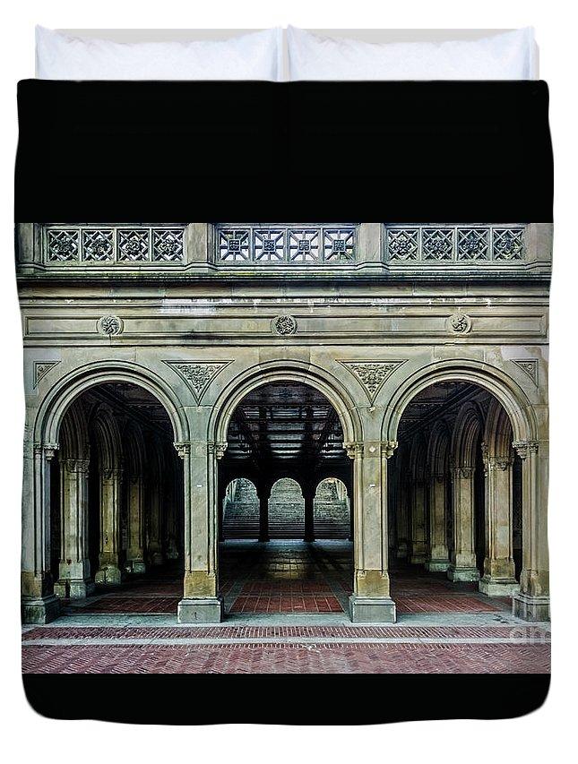 Central Park Duvet Cover featuring the photograph Bethesda Terrace Arcade 4 by James Aiken