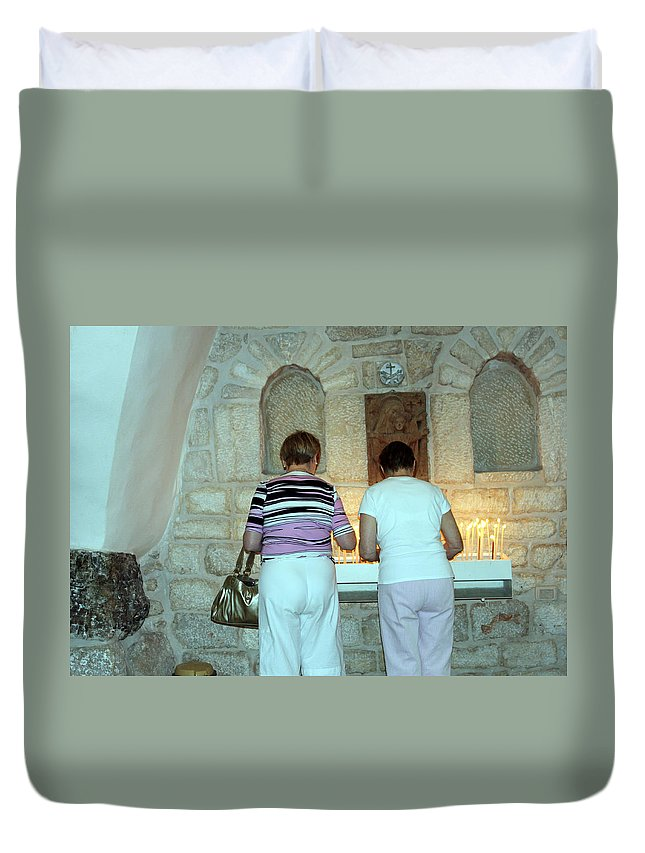 Bethlehem Duvet Cover featuring the photograph Bethlehem - Milk Grotto Church Lighting Candles by Munir Alawi