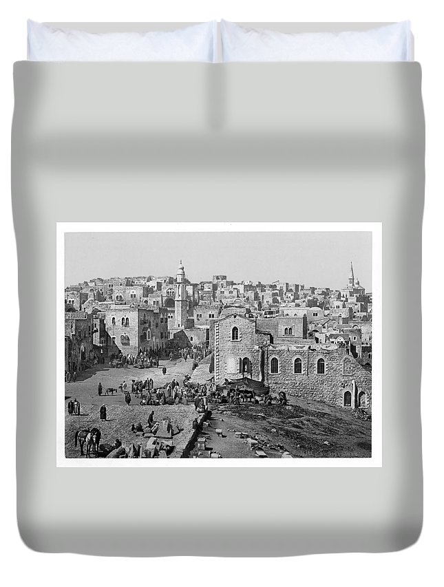 Bethlehem Duvet Cover featuring the photograph Bethlehem Year 1890 by Munir Alawi