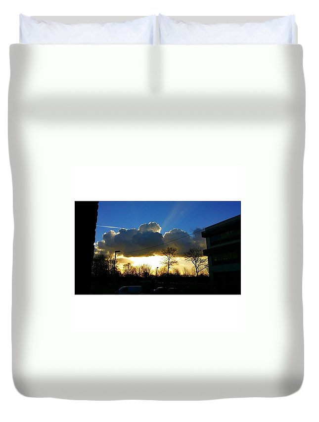 White Duvet Cover featuring the photograph Evil Cloud by Patrick Leeflang