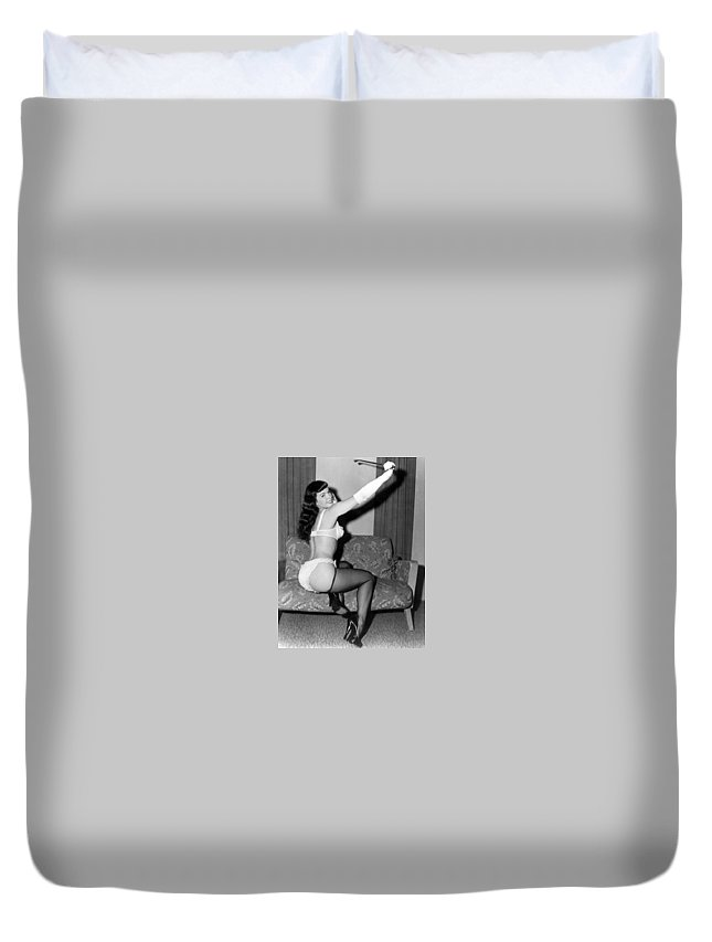 Duvet Cover featuring the photograph Betty Page Pin Up Girl 1950 by Peter Nowell