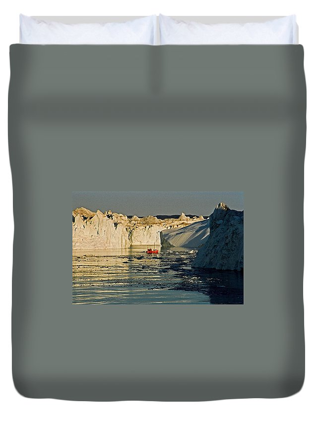 Greenland Duvet Cover featuring the photograph Between Icebergs - Greenland by Juergen Weiss