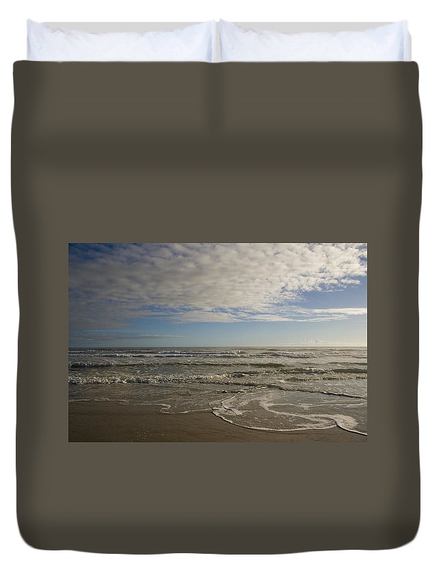 Wave Sand Ocean Beach Sky Water Wave Tide Sun Sunny Vacation Cloud Morning Early Duvet Cover featuring the photograph Between Night And Day by Andrei Shliakhau